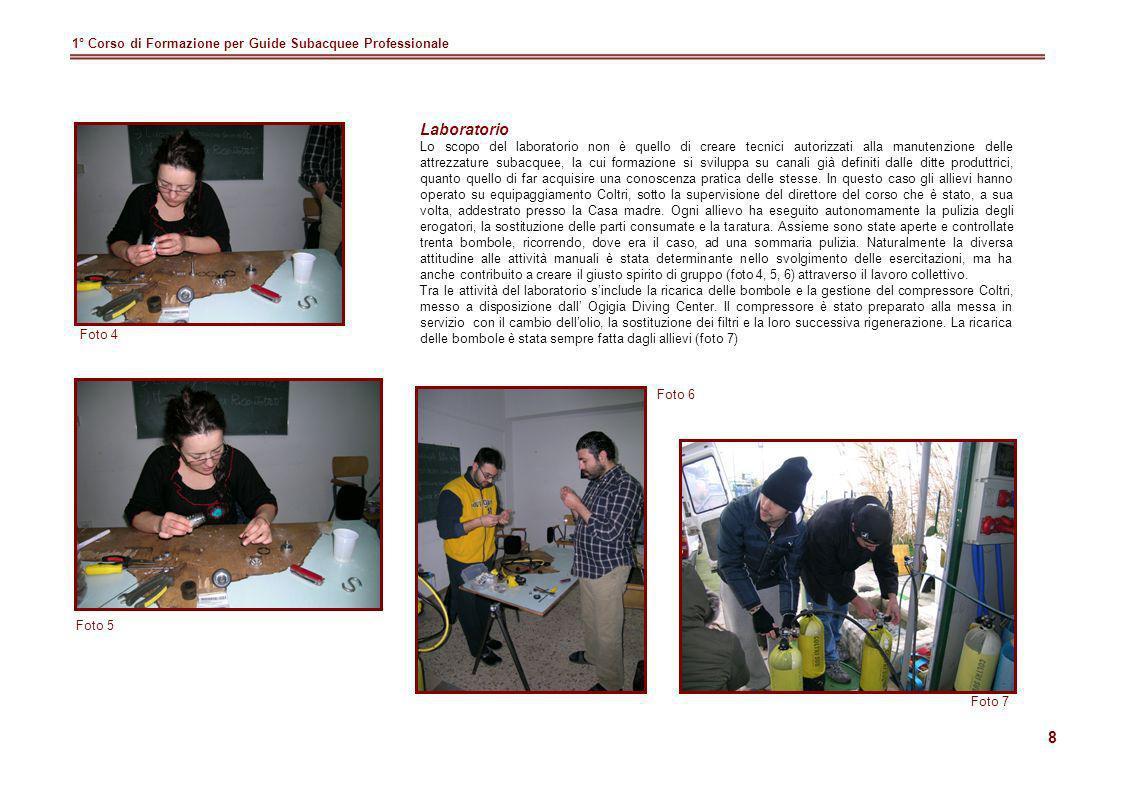 Laboratorio 1° Corso di Formazione per Guide Subacquee Professionale