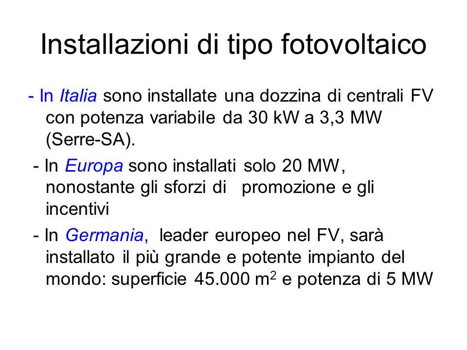 Installazioni di tipo fotovoltaico