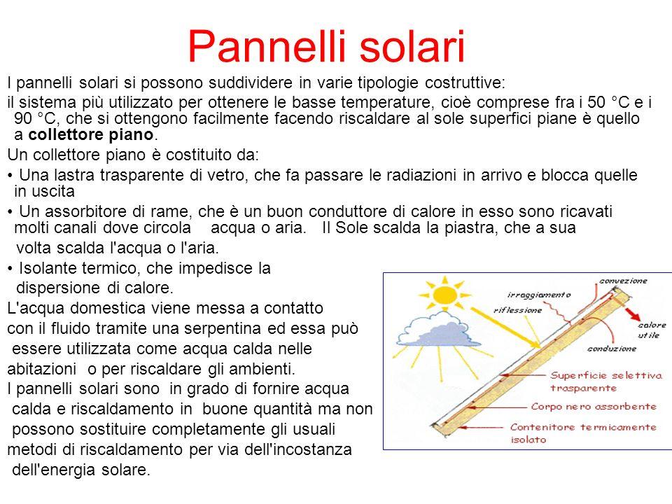 Pannelli solari I pannelli solari si possono suddividere in varie tipologie costruttive: