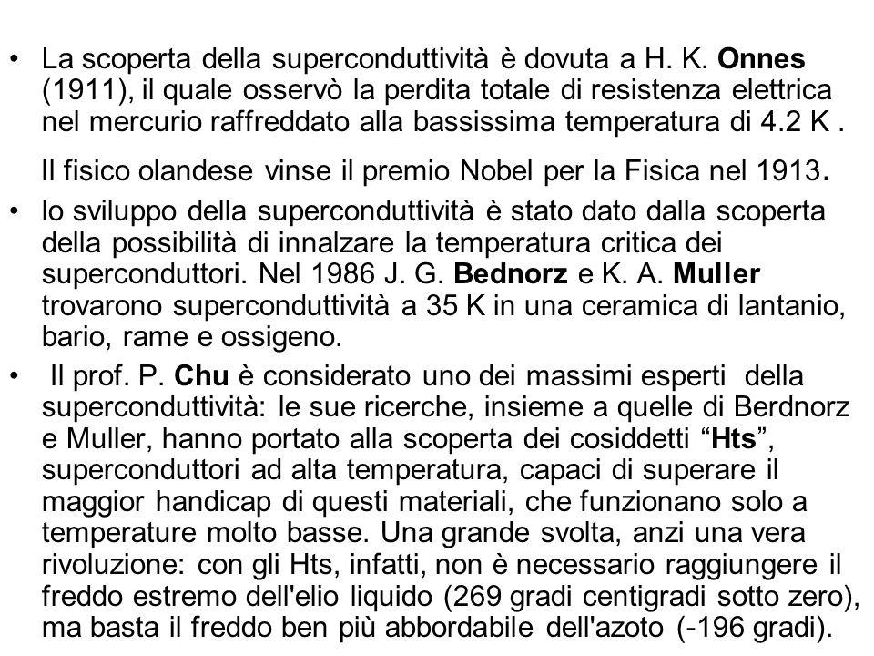 La scoperta della superconduttività è dovuta a H. K