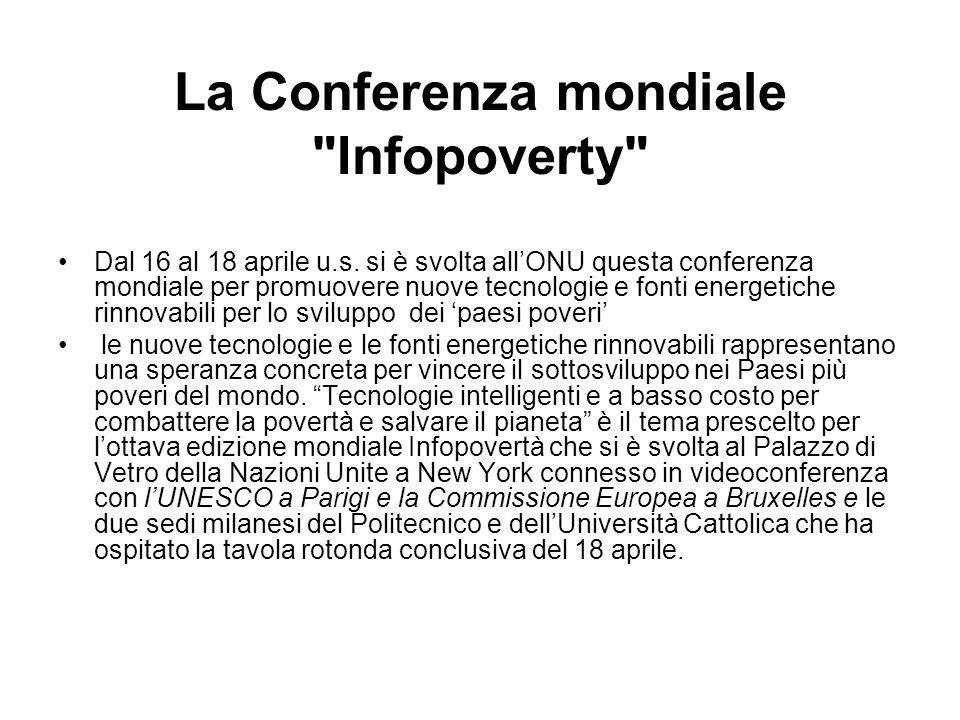 La Conferenza mondiale Infopoverty