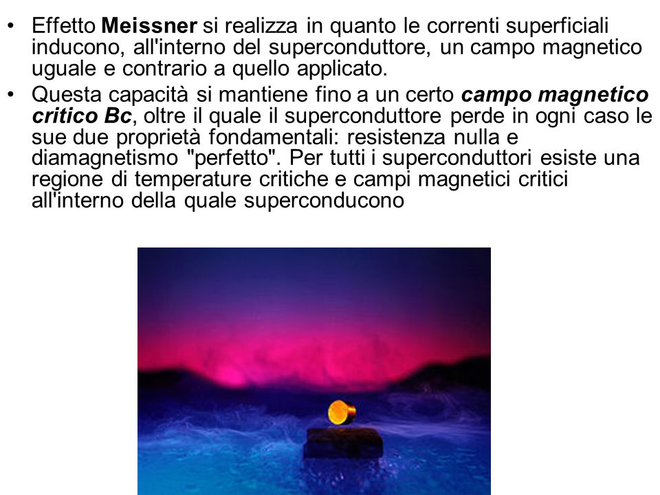 Effetto Meissner si realizza in quanto le correnti superficiali inducono, all interno del superconduttore, un campo magnetico uguale e contrario a quello applicato.