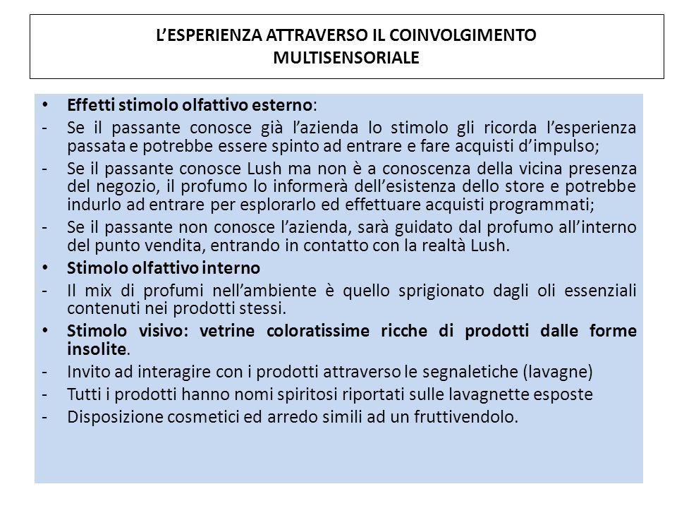 L'ESPERIENZA ATTRAVERSO IL COINVOLGIMENTO MULTISENSORIALE
