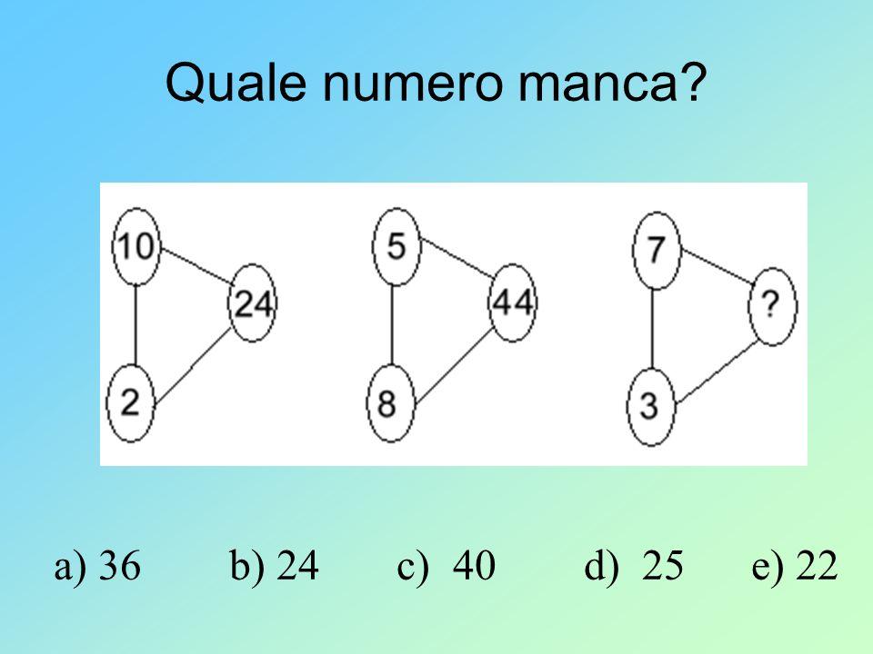 Quale numero manca a) 36 b) 24 c) 40 d) 25 e) 22