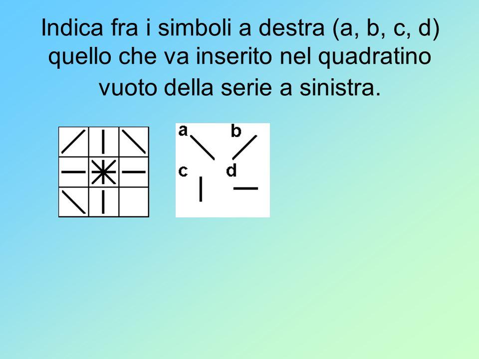 Indica fra i simboli a destra (a, b, c, d) quello che va inserito nel quadratino vuoto della serie a sinistra.