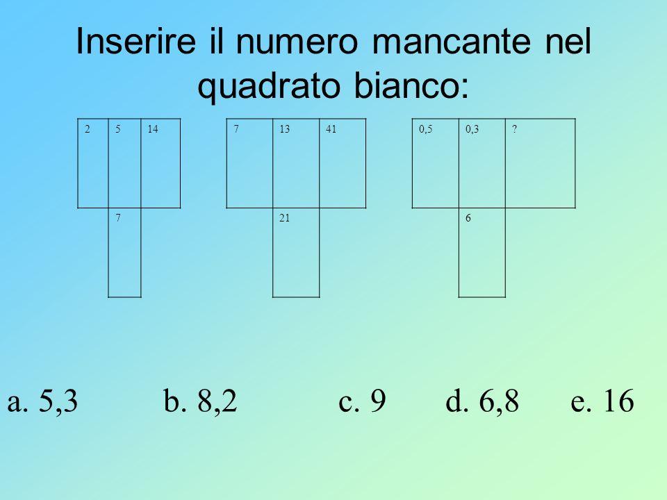 Inserire il numero mancante nel quadrato bianco: