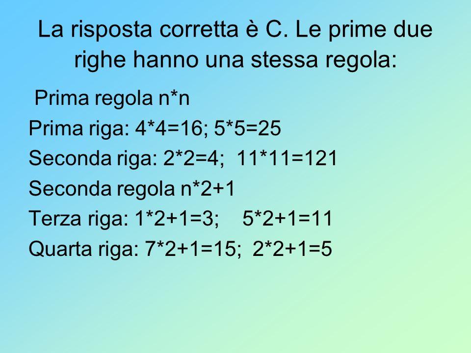 La risposta corretta è C. Le prime due righe hanno una stessa regola: