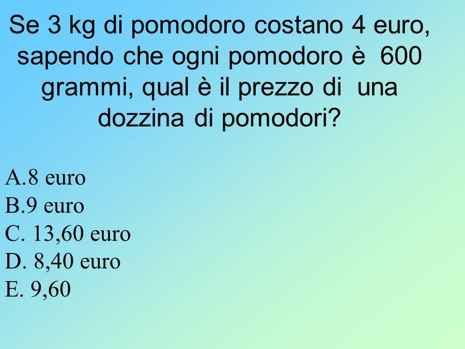 Se 3 kg di pomodoro costano 4 euro, sapendo che ogni pomodoro è 600 grammi, qual è il prezzo di una dozzina di pomodori
