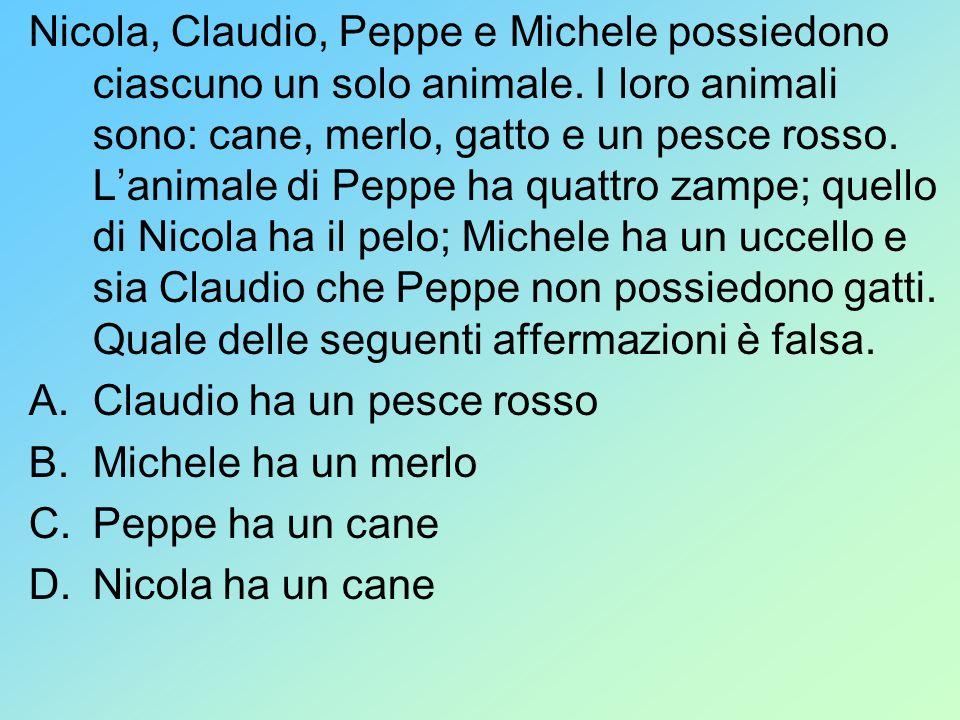 Nicola, Claudio, Peppe e Michele possiedono ciascuno un solo animale