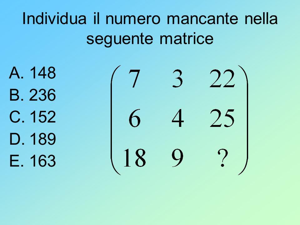 Individua il numero mancante nella seguente matrice