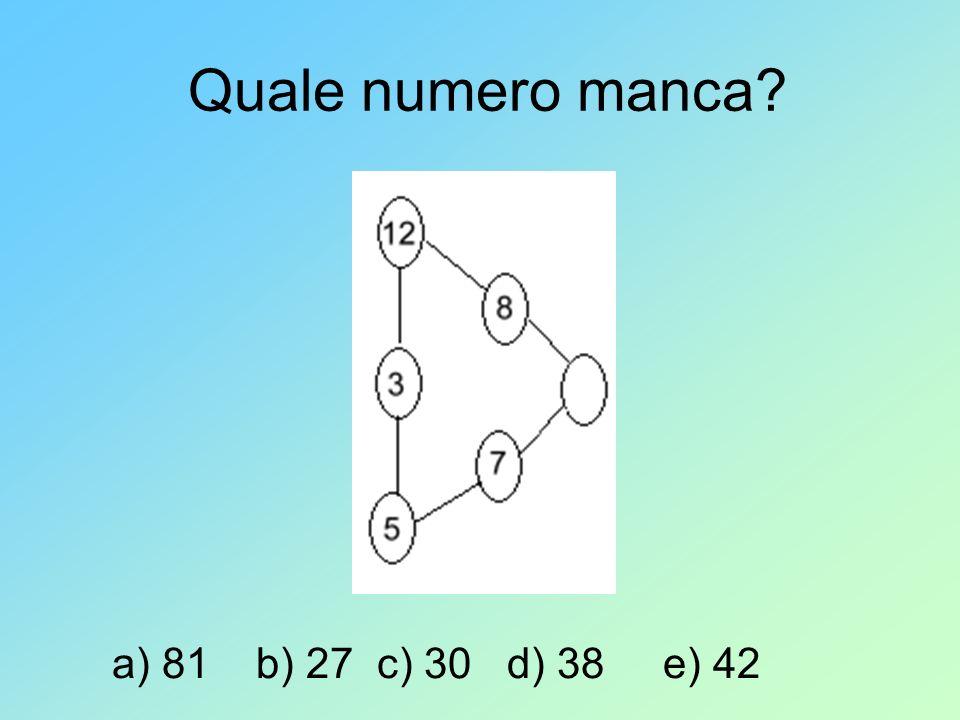Quale numero manca a) 81 b) 27 c) 30 d) 38 e) 42