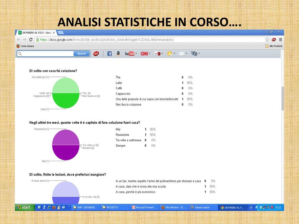 ANALISI STATISTICHE IN CORSO….