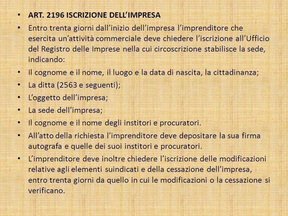 ART. 2196 ISCRIZIONE DELL'IMPRESA