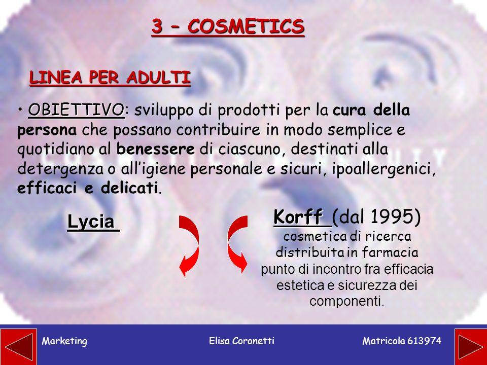 3 – COSMETICS Korff (dal 1995) Lycia LINEA PER ADULTI