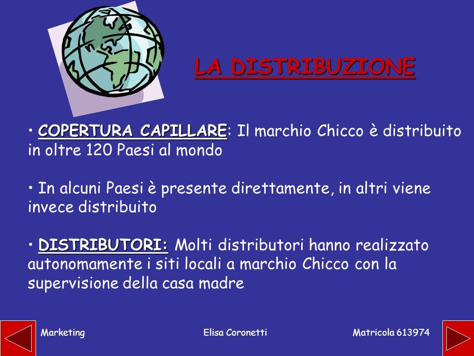 LA DISTRIBUZIONECOPERTURA CAPILLARE: Il marchio Chicco è distribuito in oltre 120 Paesi al mondo.