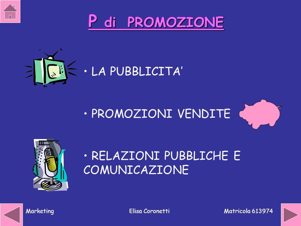 P di PROMOZIONE LA PUBBLICITA' PROMOZIONI VENDITE