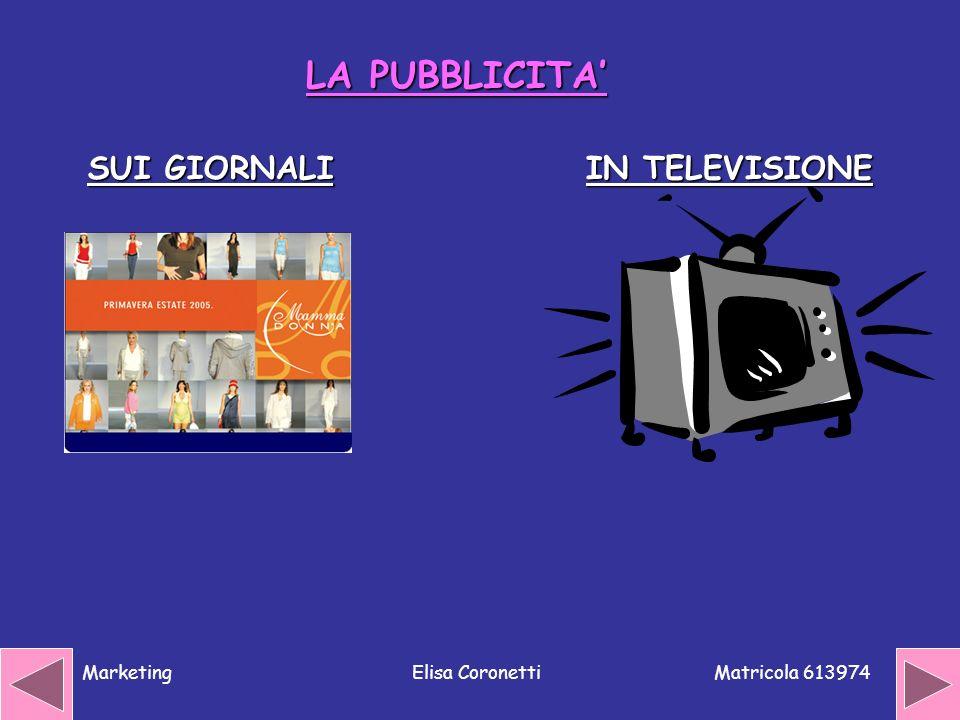 LA PUBBLICITA' SUI GIORNALI IN TELEVISIONE Marketing Elisa Coronetti