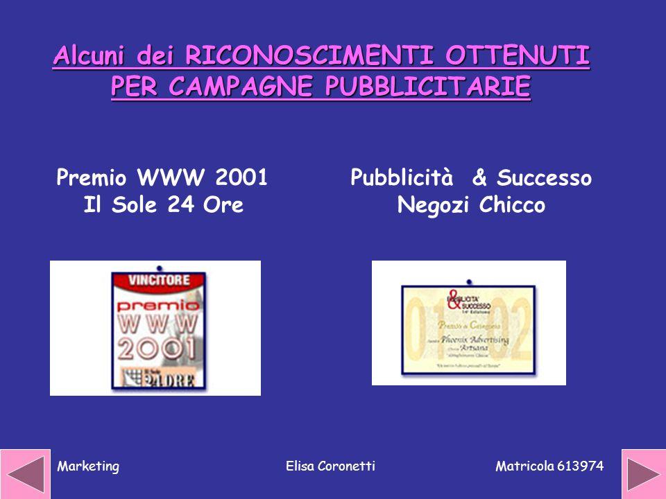 Alcuni dei RICONOSCIMENTI OTTENUTI PER CAMPAGNE PUBBLICITARIE