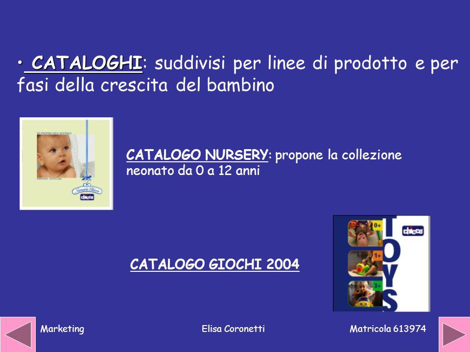 CATALOGHI: suddivisi per linee di prodotto e per fasi della crescita del bambino