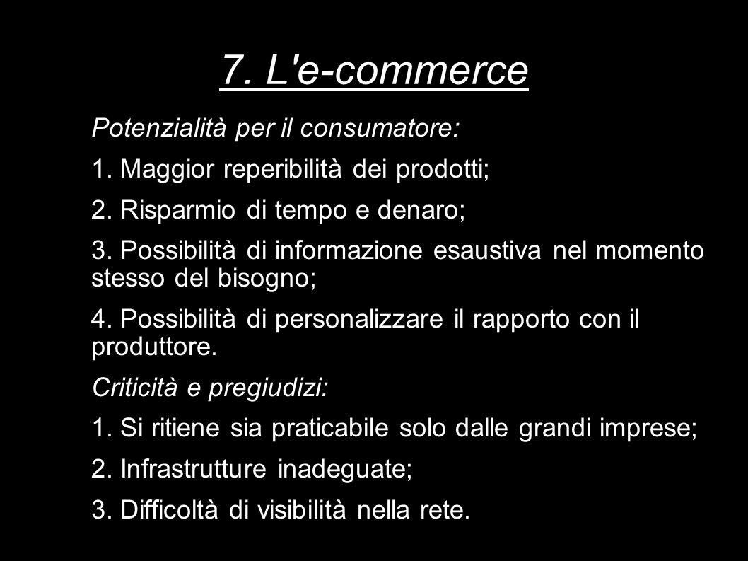 7. L e-commerce Potenzialità per il consumatore: