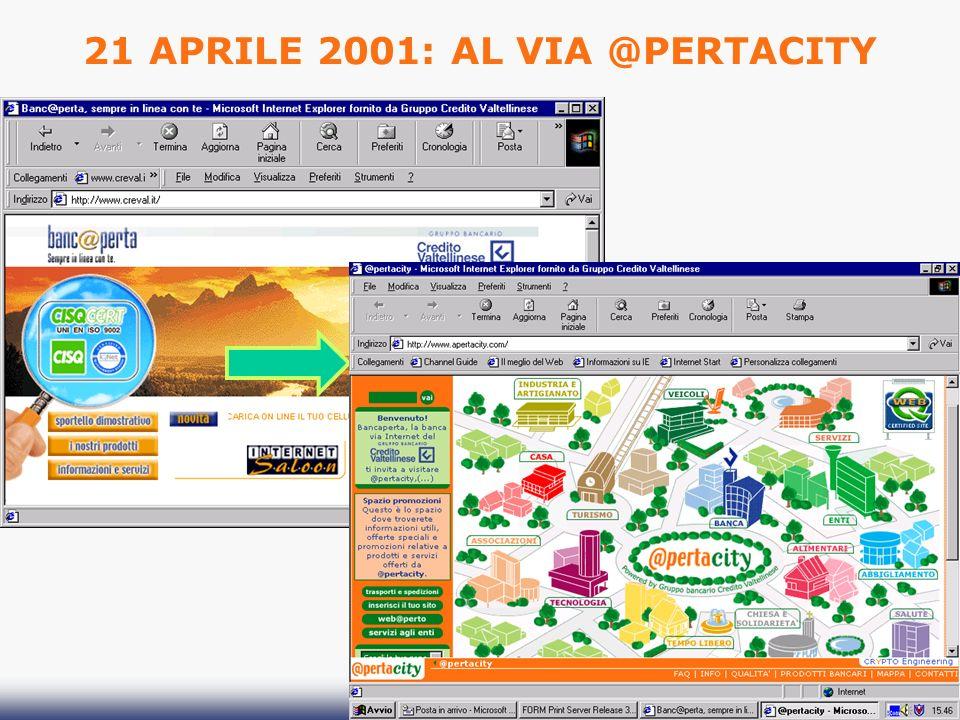 21 APRILE 2001: AL VIA @PERTACITY