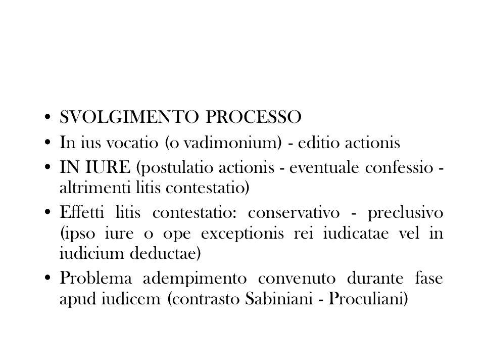 SVOLGIMENTO PROCESSO In ius vocatio (o vadimonium) - editio actionis.