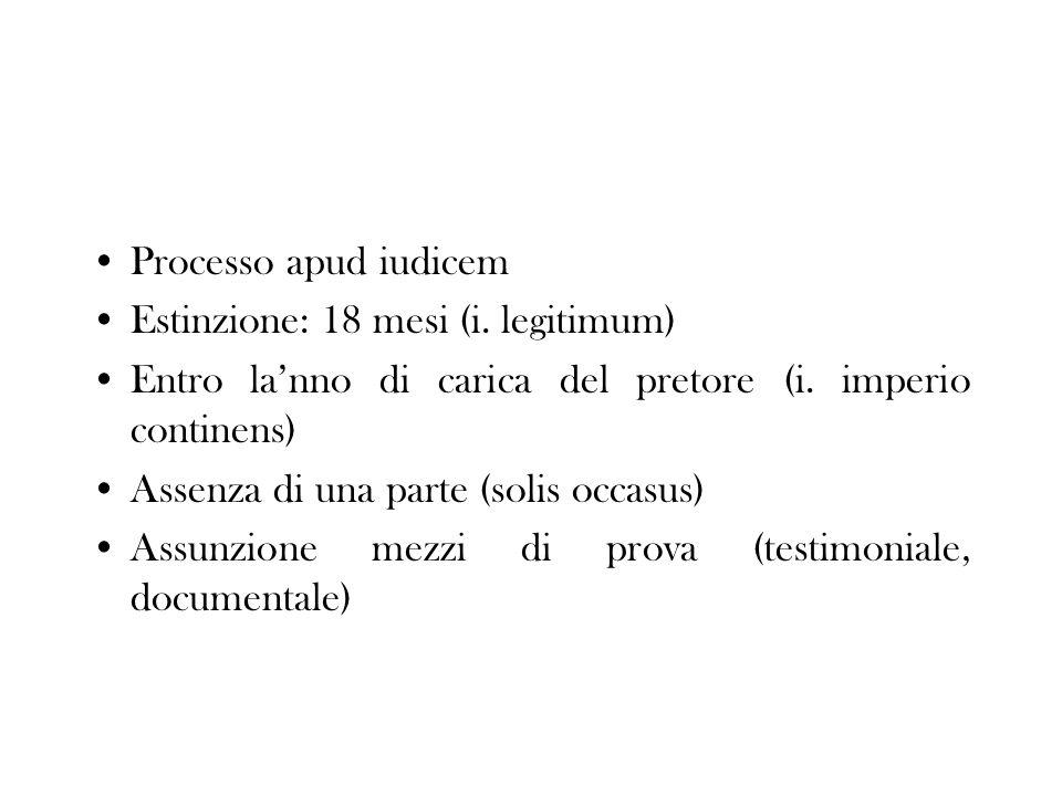 Processo apud iudicem Estinzione: 18 mesi (i. legitimum) Entro la'nno di carica del pretore (i. imperio continens)