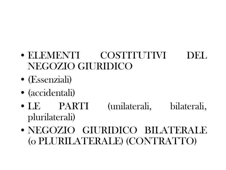 ELEMENTI COSTITUTIVI DEL NEGOZIO GIURIDICO