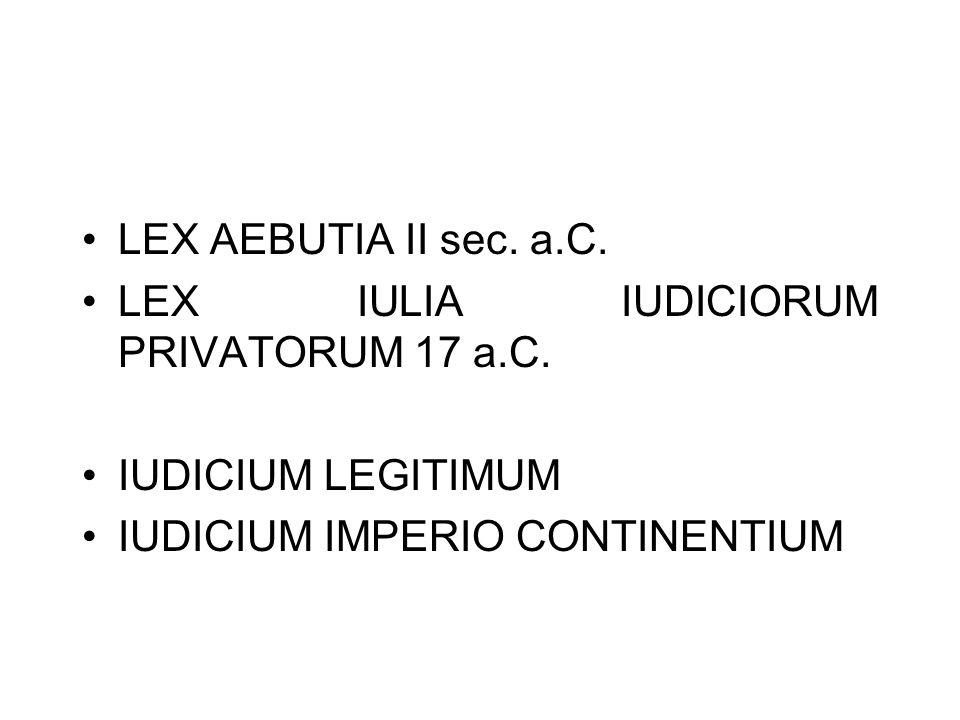 LEX AEBUTIA II sec. a.C. LEX IULIA IUDICIORUM PRIVATORUM 17 a.C.