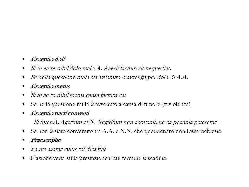 Exceptio doli Si in ea re nihil dolo malo A. Agerii factum sit neque fiat. Se nella questione nulla sia avvenuto o avvenga per dolo di A.A.