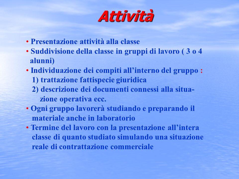 Attività Presentazione attività alla classe