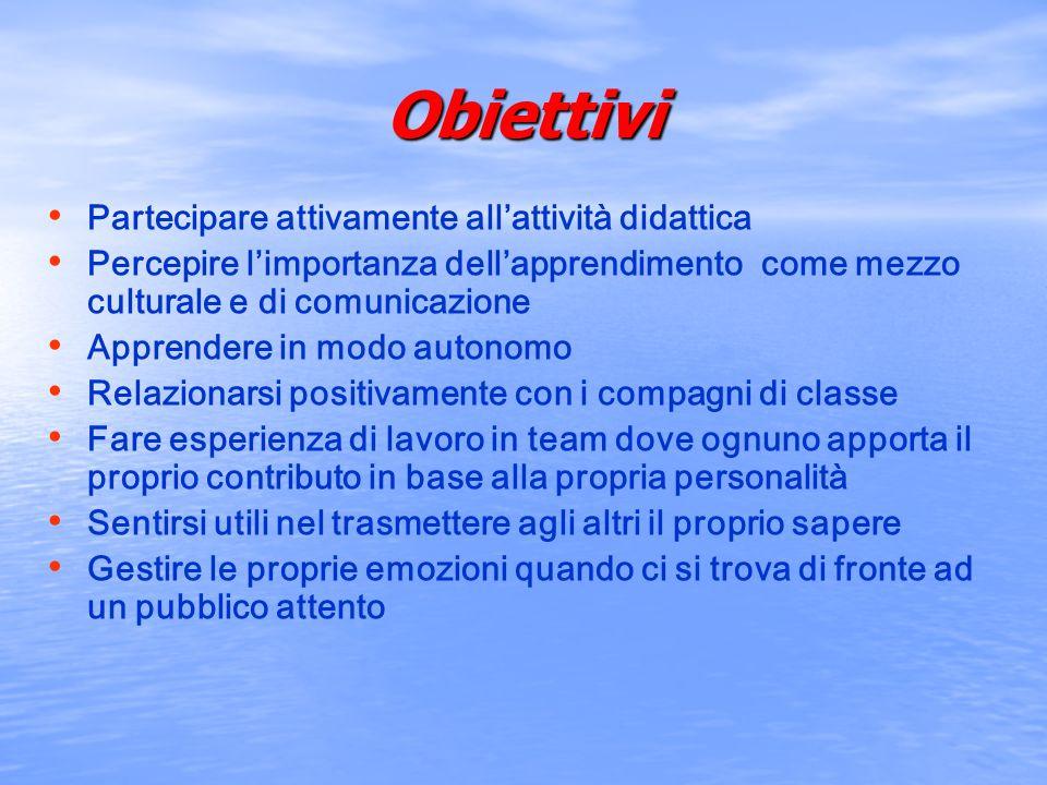 Obiettivi Partecipare attivamente all'attività didattica