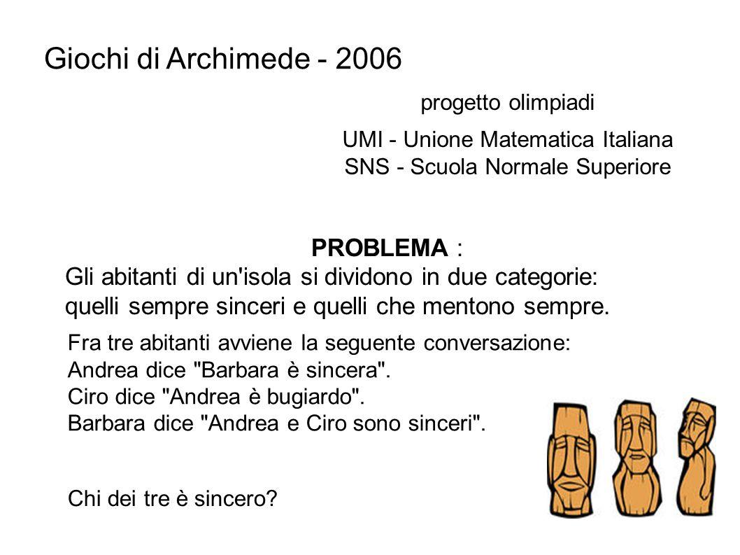Giochi di Archimede - 2006 PROBLEMA :