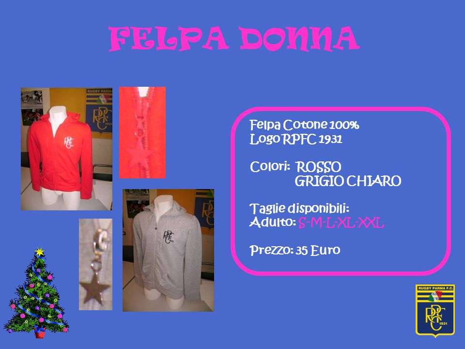 FELPA DONNA Felpa Cotone 100% Logo RPFC 1931 Colori: ROSSO