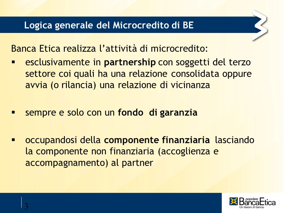 Logica generale del Microcredito di BE