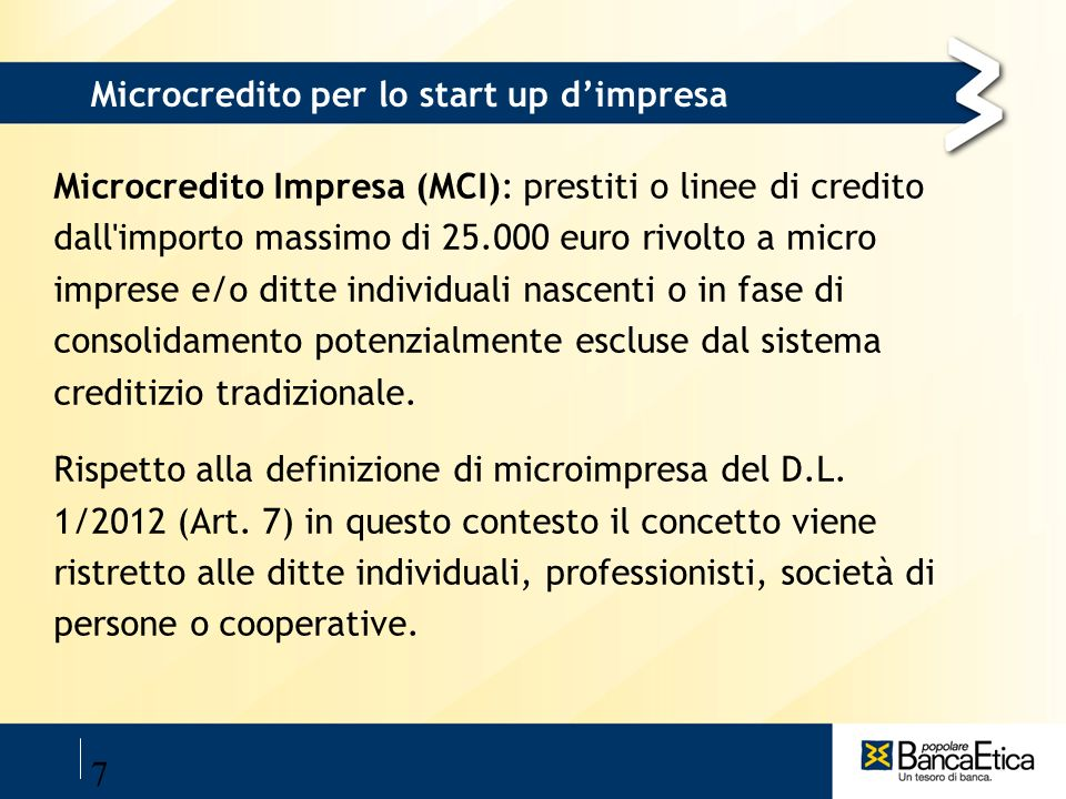 Microcredito per lo start up d'impresa