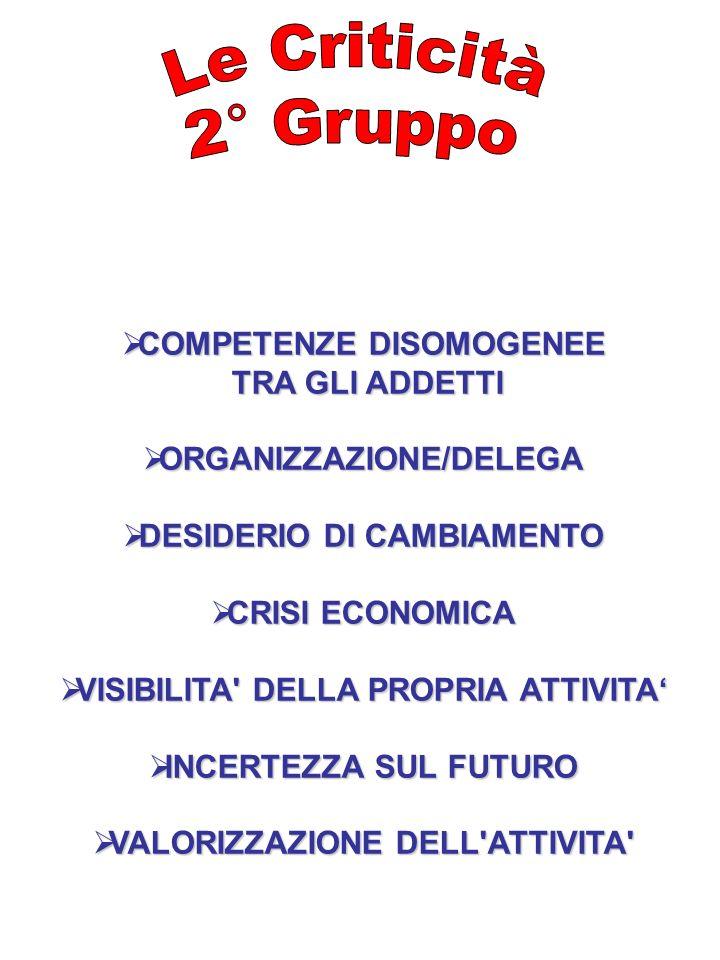 Le Criticità 2° Gruppo COMPETENZE DISOMOGENEE TRA GLI ADDETTI