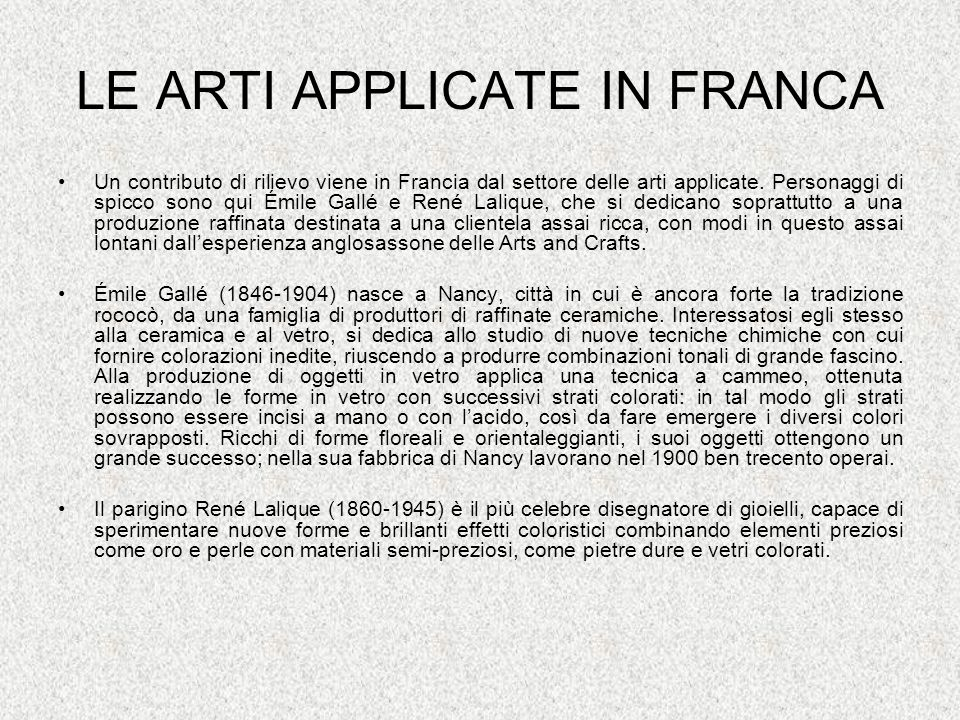 LE ARTI APPLICATE IN FRANCA