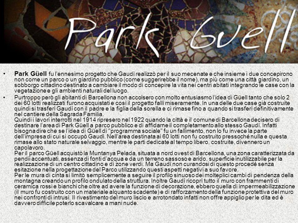 Park Güell fu l'ennesimo progetto che Gaudì realizzò per il suo mecenate e che insieme i due concepirono non come un parco o un giardino pubblico (come suggerirebbe il nome), ma più come una città giardino, un sobborgo cittadino destinato a cambiare il modo di concepire la vita nei centri abitati integrando le case con la vegetazione e gli ambienti naturali del luogo.