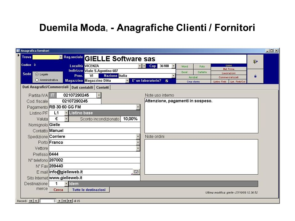 Duemila Moda® - Anagrafiche Clienti / Fornitori
