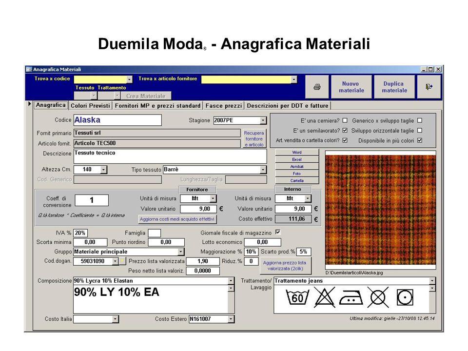 Duemila Moda® - Anagrafica Materiali