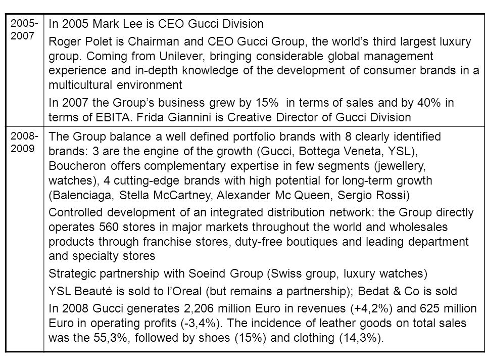 In 2005 Mark Lee is CEO Gucci Division