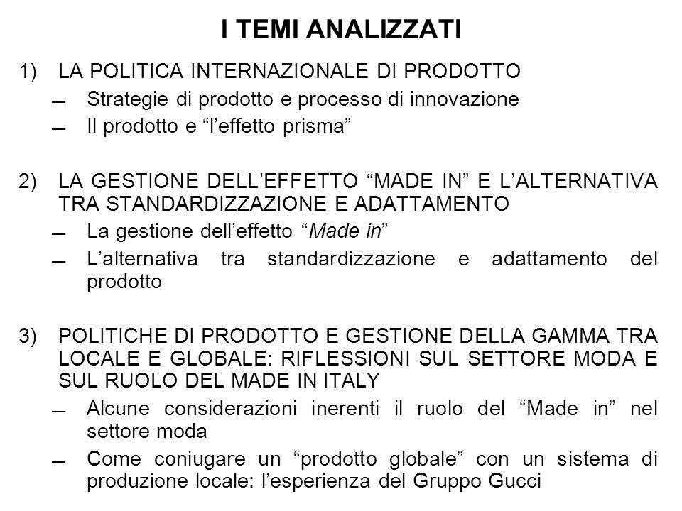 I TEMI ANALIZZATI 1) LA POLITICA INTERNAZIONALE DI PRODOTTO