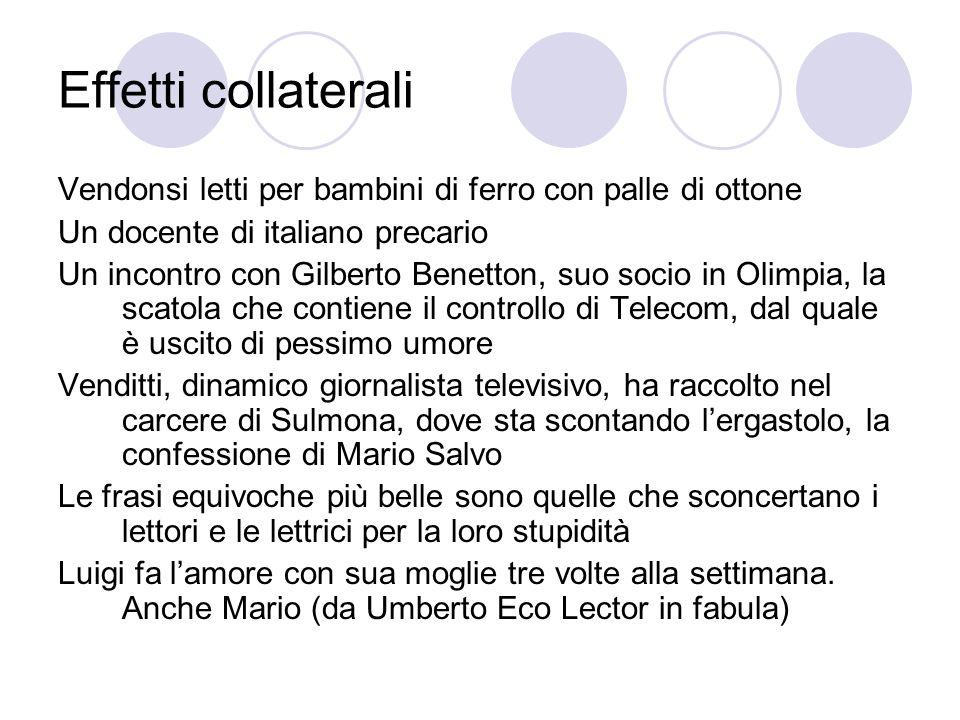 Effetti collaterali Vendonsi letti per bambini di ferro con palle di ottone. Un docente di italiano precario.