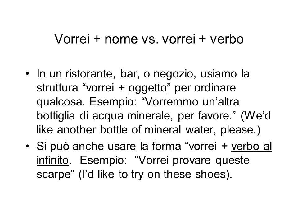 Vorrei + nome vs. vorrei + verbo