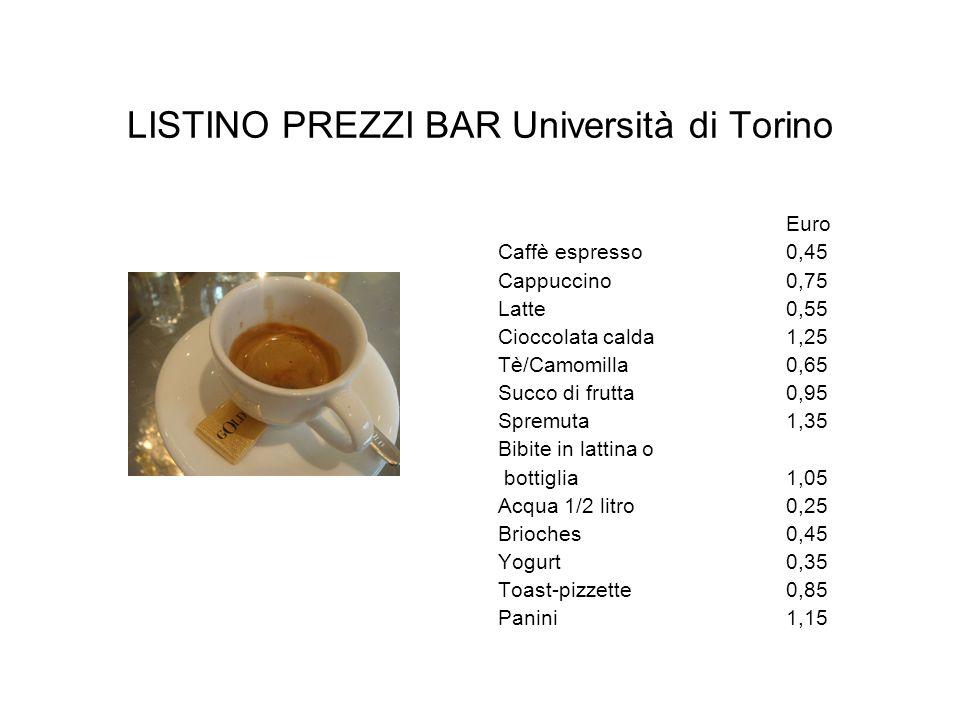 LISTINO PREZZI BAR Università di Torino