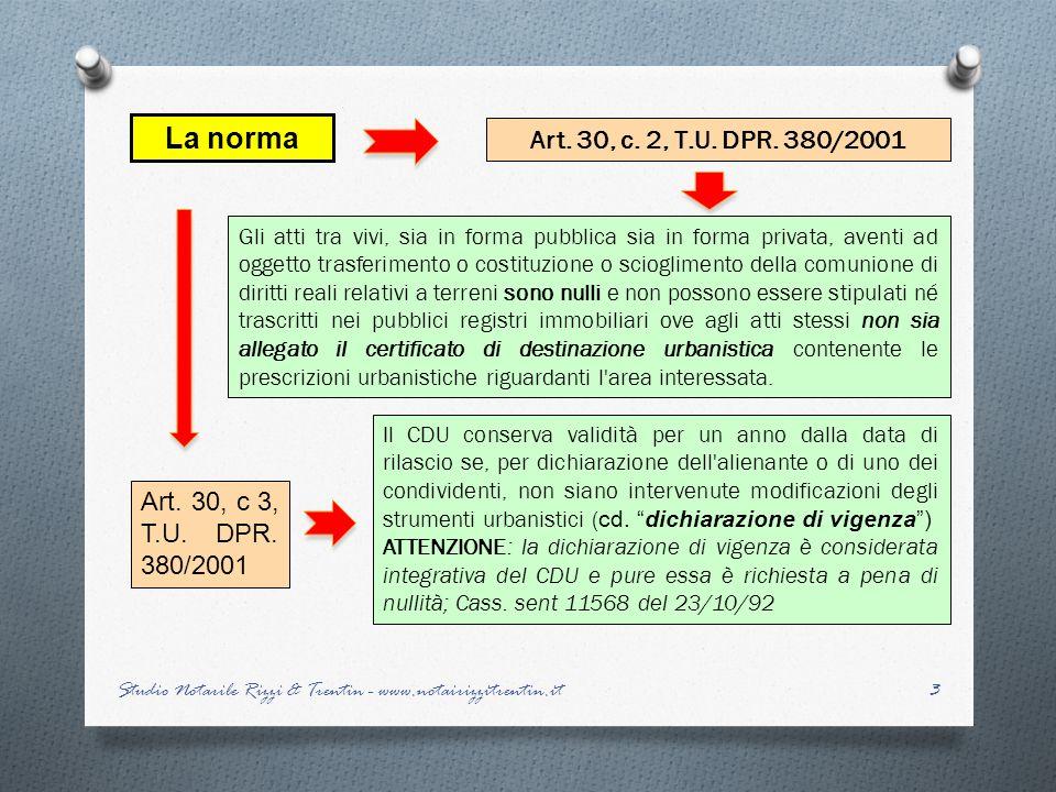 La norma Art. 30, c. 2, T.U. DPR. 380/2001.