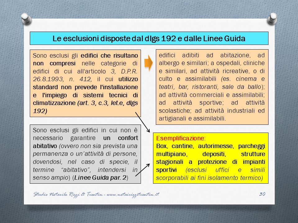 Le esclusioni disposte dal dlgs 192 e dalle Linee Guida
