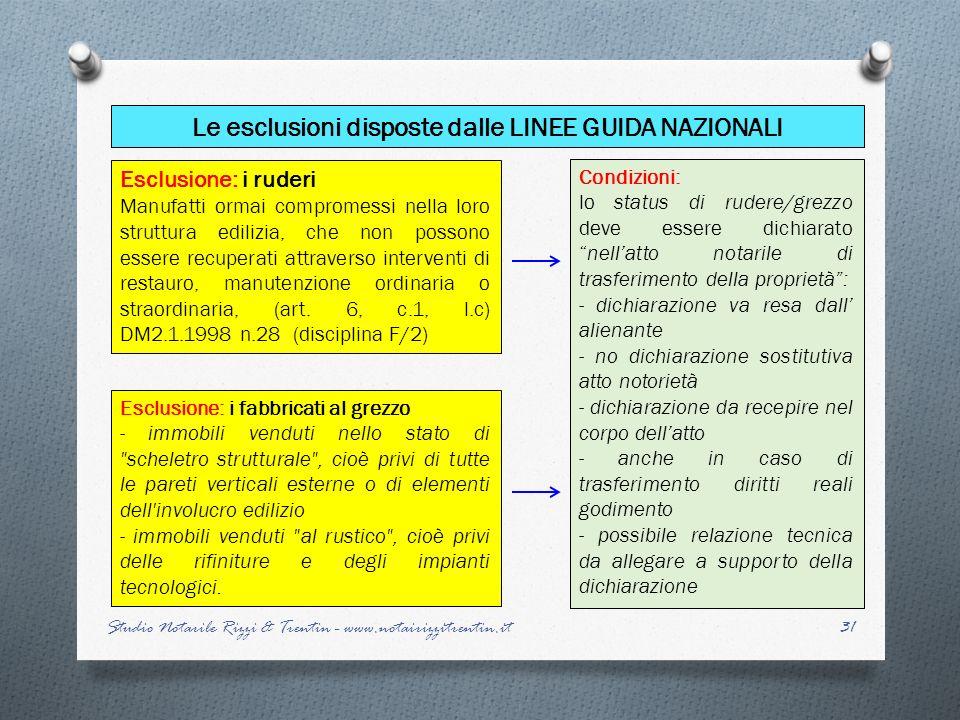 Le esclusioni disposte dalle LINEE GUIDA NAZIONALI