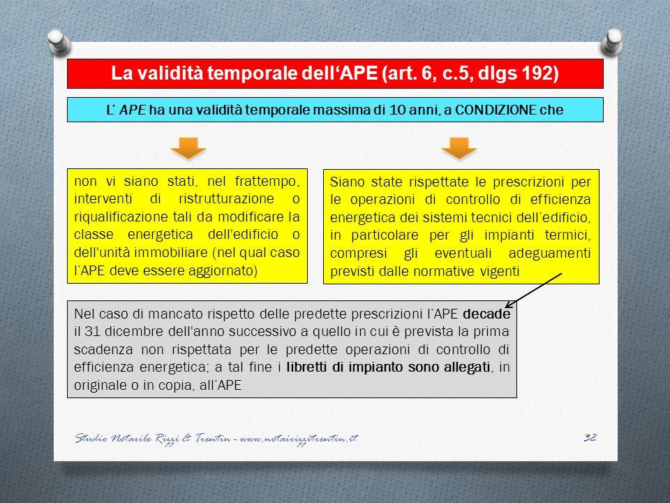 La validità temporale dell'APE (art. 6, c.5, dlgs 192)
